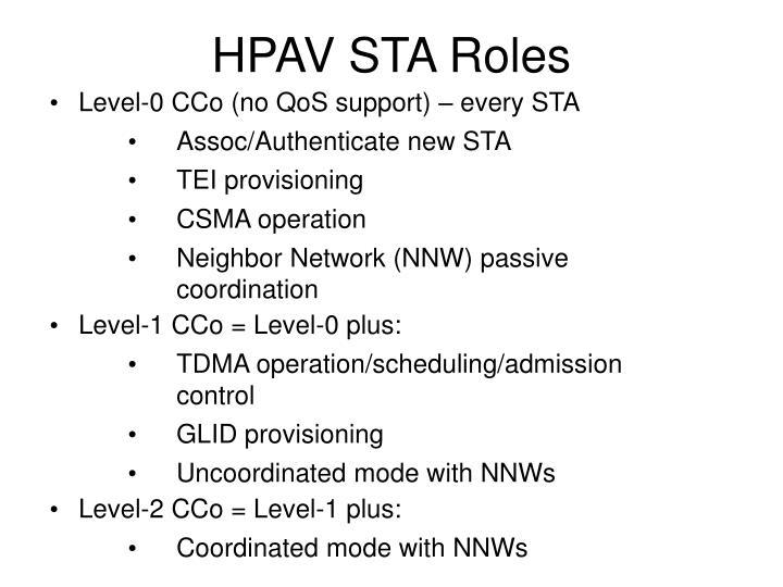 HPAV STA Roles