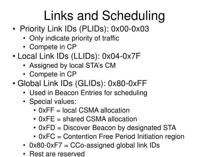 Links and Scheduling