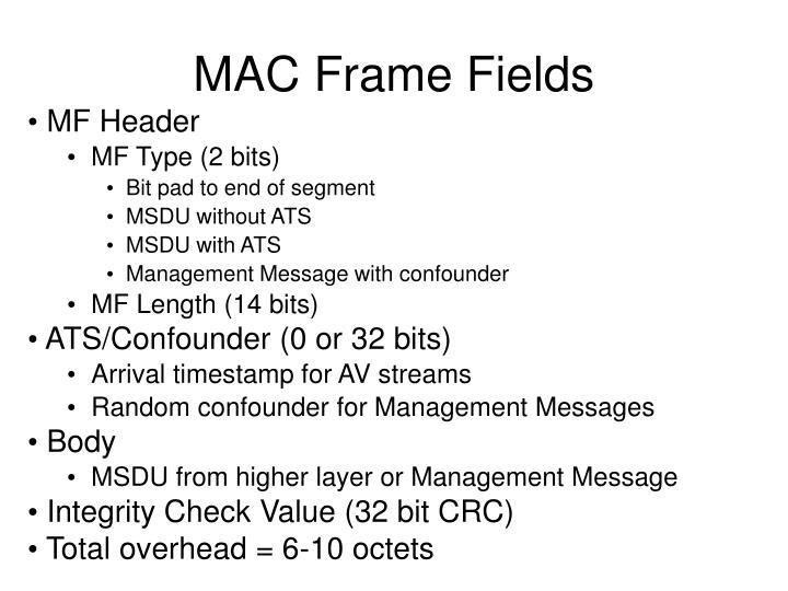 MAC Frame Fields