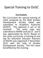 special training to oosc