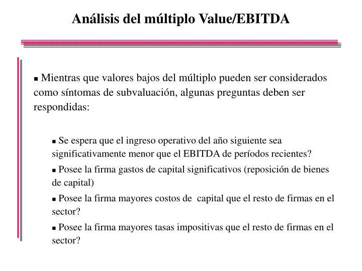 Análisis del múltiplo Value/EBITDA