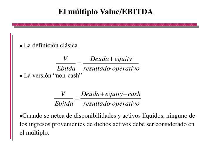 El múltiplo Value/EBITDA