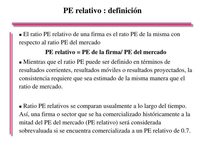 PE relativo : definición