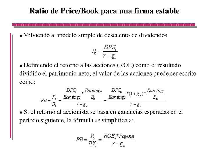 Ratio de Price/Book para una firma estable