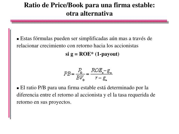 Ratio de Price/Book para una firma estable: