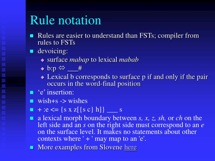 Rule notation
