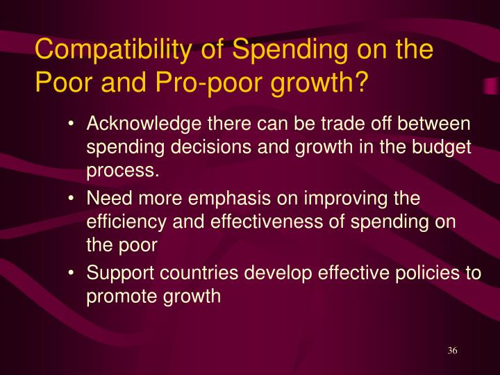 Compatibility of Spending on the Poor and Pro-poor growth?