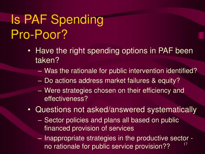 Is PAF Spending