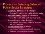 process for selecting balanced public sector strategies