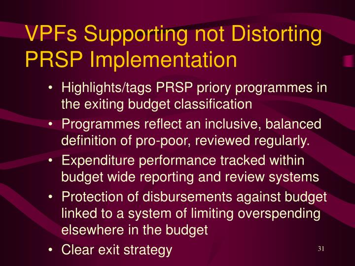 VPFs Supporting not Distorting PRSP Implementation