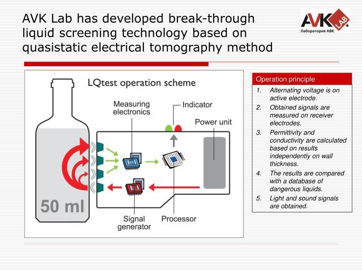 AVK Lab has developed break-through liquid screening technology based on quasistatic electrical tomography method