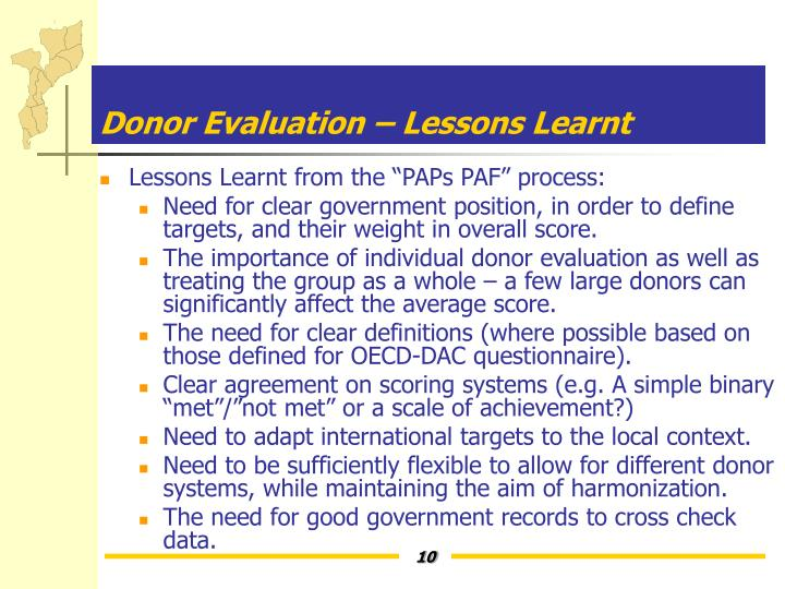 Donor Evaluation – Lessons Learnt