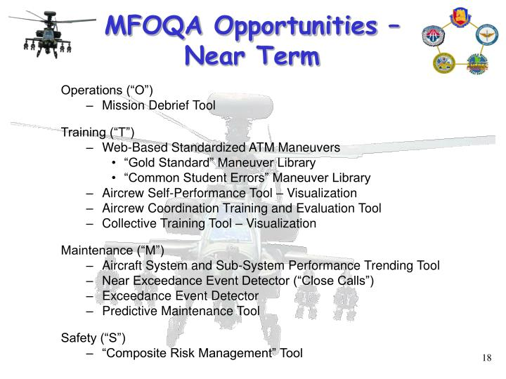 MFOQA Opportunities –