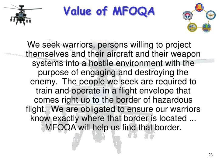 Value of MFOQA