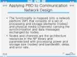 applying pbd to communication network design
