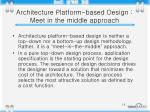 architecture platform based design meet in the middle approach