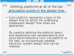 defining platforms at all of the key articulation points in the design flow