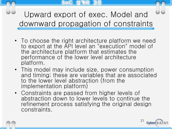 Upward export of exec. Model and downward propagation of constraints
