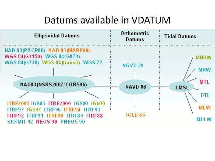 Datums available in VDATUM