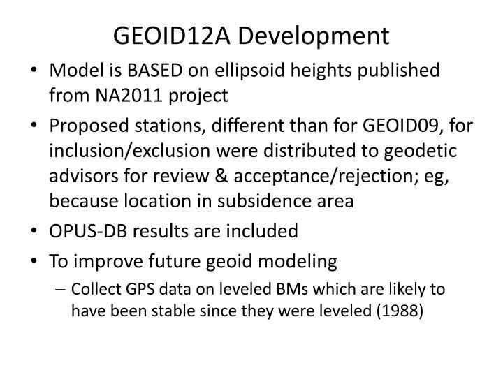 GEOID12A Development