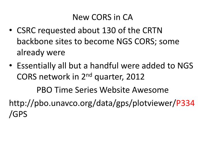 New CORS in CA
