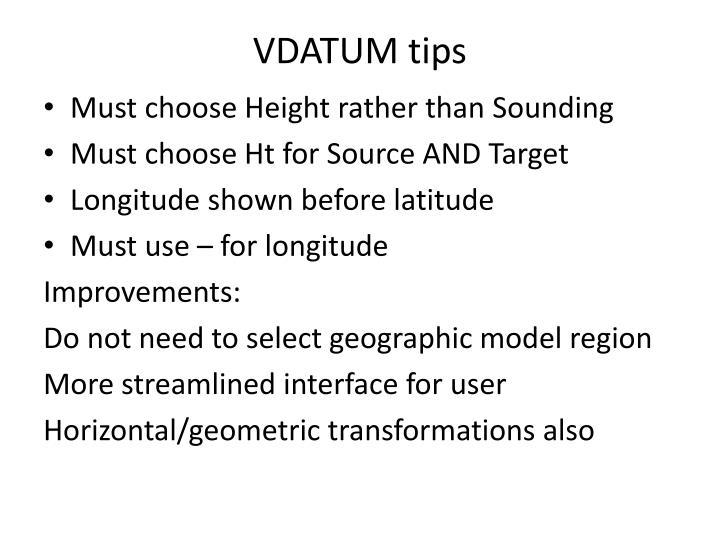 VDATUM tips