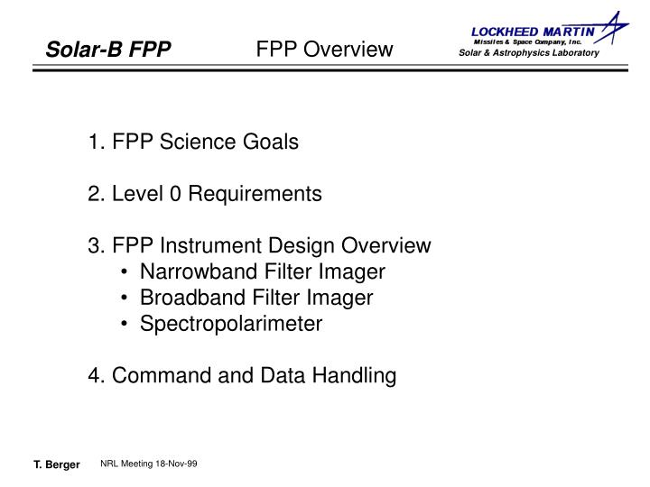 1. FPP Science Goals