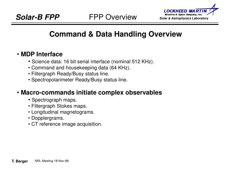 Command & Data Handling Overview