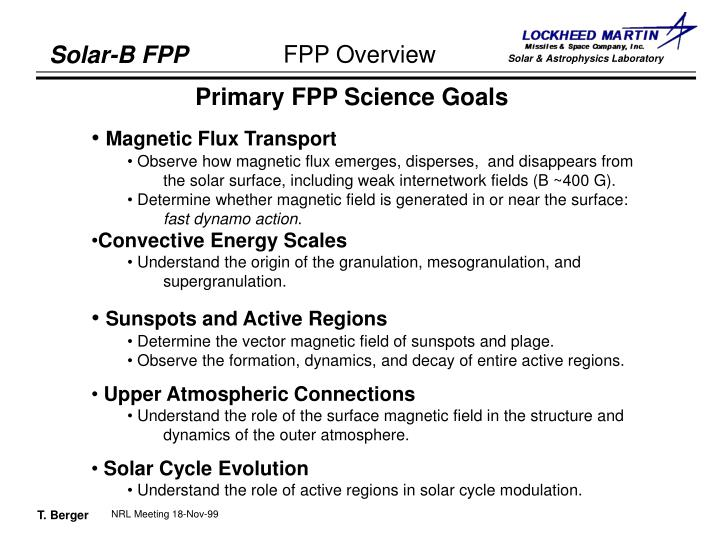 Primary FPP Science Goals