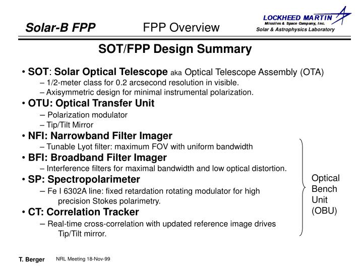 SOT/FPP Design Summary