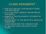 class assigment