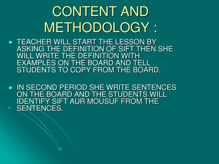 CONTENT AND METHODOLOGY :