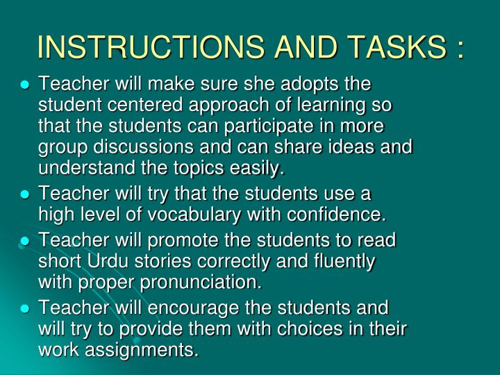 INSTRUCTIONS AND TASKS :