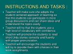 instructions and tasks