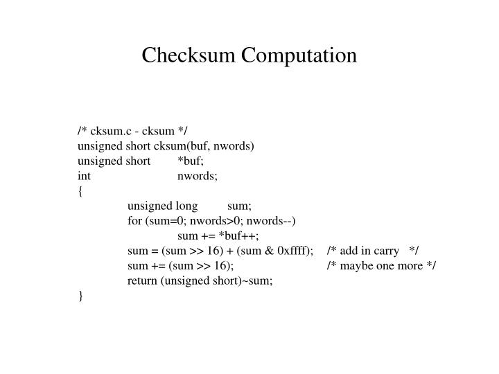 Checksum Computation
