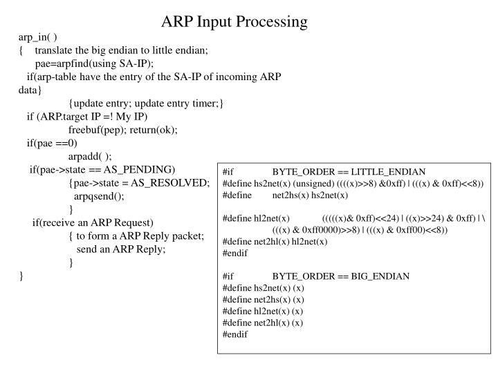 ARP Input Processing