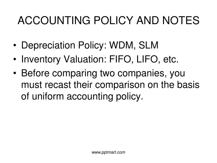 ACCOUNTING POLICY AND NOTES