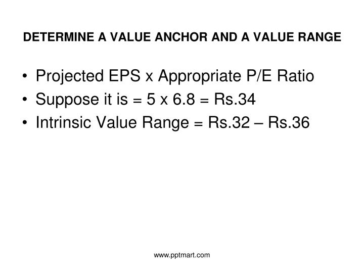 DETERMINE A VALUE ANCHOR AND A VALUE RANGE