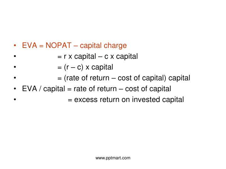 EVA = NOPAT – capital charge