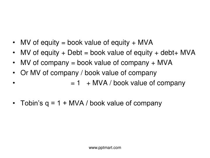 MV of equity = book value of equity + MVA