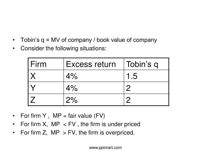 Tobin's q = MV of company / book value of company