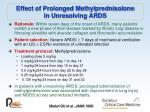 effect of prolonged methylprednisolone in unresolving ards