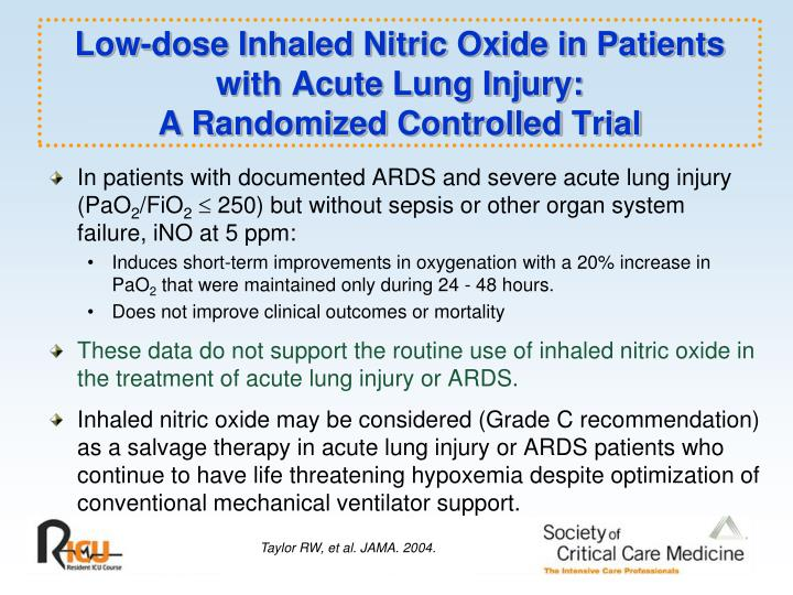 Low-dose Inhaled Nitric Oxide in Patients with Acute Lung Injury: