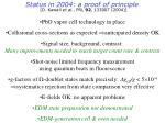 status in 2004 a proof of principle