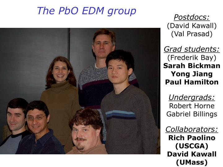 The PbO EDM group