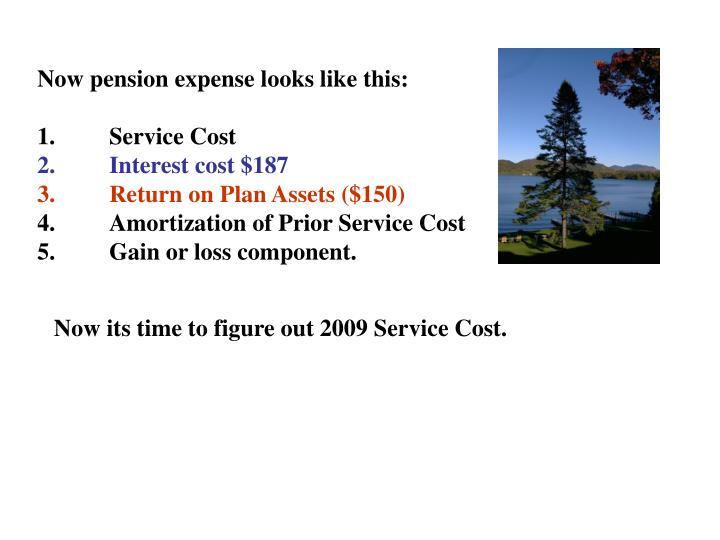 Now pension expense looks like this: