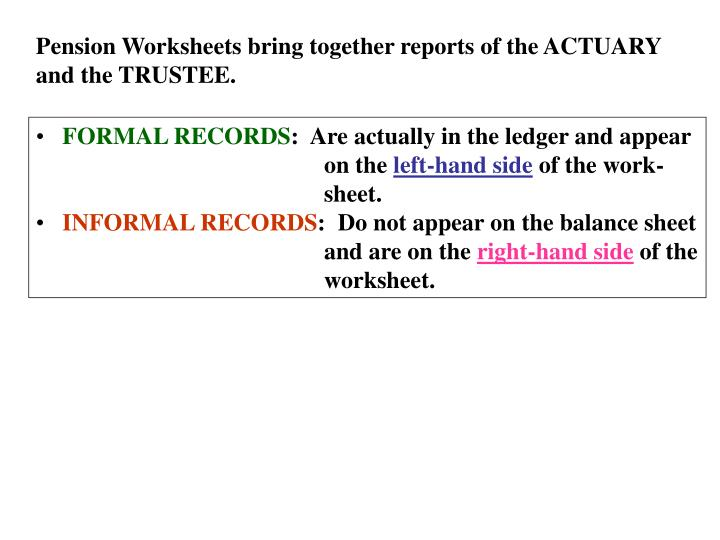 Pension Worksheets bring together reports of the ACTUARY