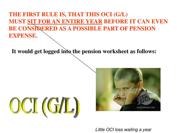 THE FIRST RULE IS, THAT THIS OCI (G/L)