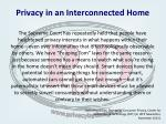 privacy in an interconnected home