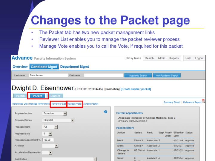 Changes to the Packet page
